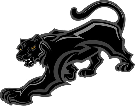 black: Graphic Mascot Vector Image of a Walking Panther Body Illustration