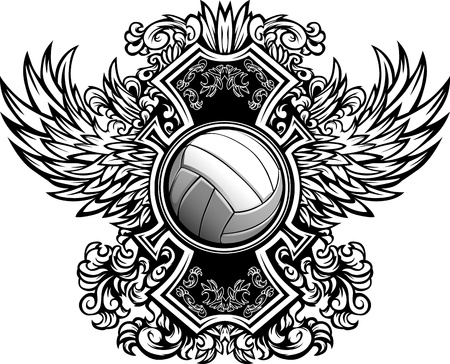 Volleyball Ball with Ornate Wing Borders Vector Graphic