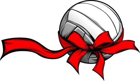 Volley-ball Enveloppé avec Red ruban de Noël pour les vacances d'hiver Banque d'images - 11375510