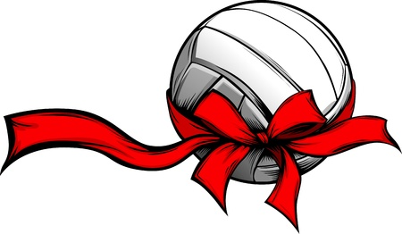 Volleyball Wrapped with Red Christmas Ribbon for Winter Holidays Ilustracja