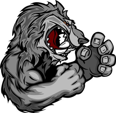 peleando: Coyote o lobo mascota de lucha Ilustraci�n vectorial del cuerpo