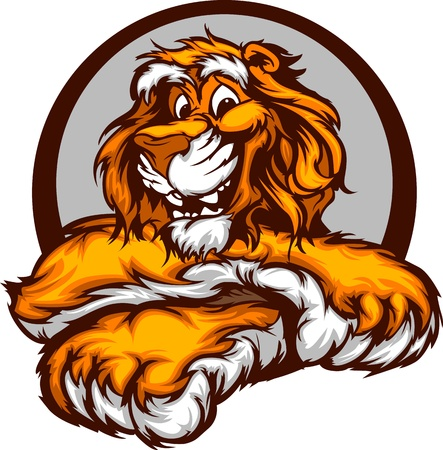 leaning: Tiger with Paws Smiling Mascot Illustration