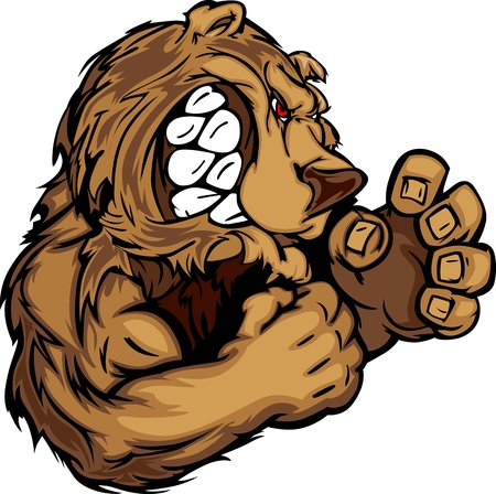 animal fight: Bear Fighting Mascot Body Illustration