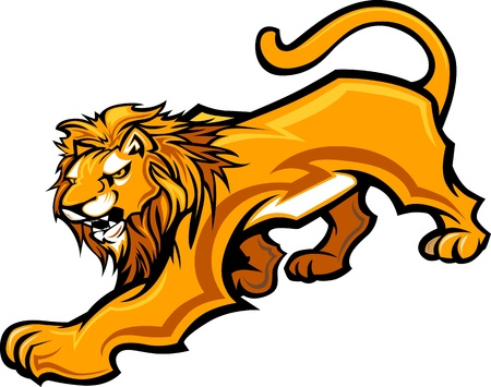 animal head: Graphic Mascot Image of a Lion Body Illustration