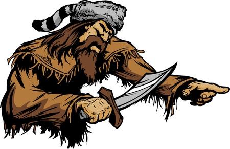 Frontiersman Pioneer Mascot houden van een Bowie Knife en het dragen van een Coonskin Hoed