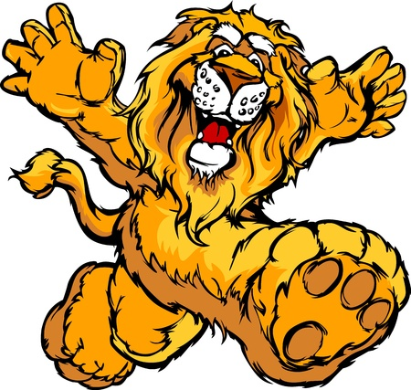 nice smile: Smiling Lion Running with hands Mascot Illustration