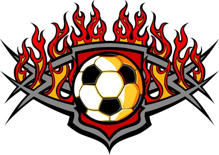 soccer ball: Graphic Soccer Ball Image Template with Flames Illustration