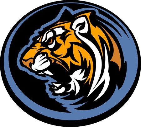 Graphic Team Mascot Image of  a Growling Tiger Head