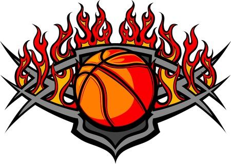 basket: Grafica Pallacanestro immagine modello a sfera con fiamme Vettoriali