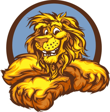 Lion with Paws Smiling Mascot Illustration Çizim