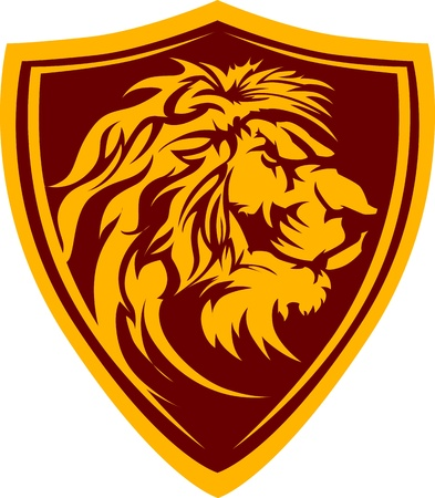 high school sports: Graphic Mascot Image of a Lion Head