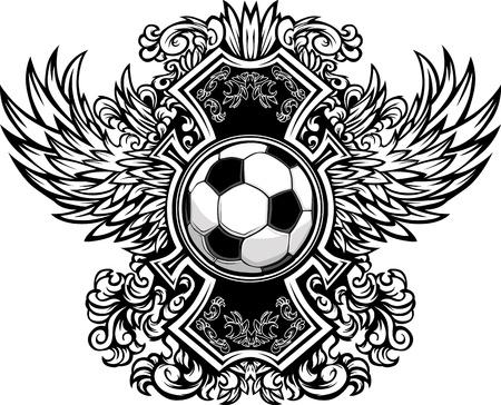 Balón de fútbol con las fronteras del ala adornado Gráfico Ilustración de vector