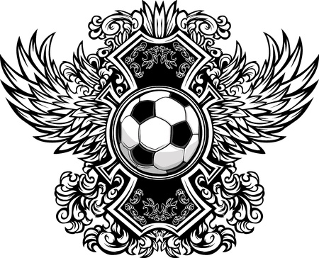 Soccer Ball with Ornate Wing Borders Graphic Vector