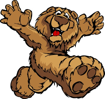 Smiling Bear Running with Hands Mascot Illustration Vector