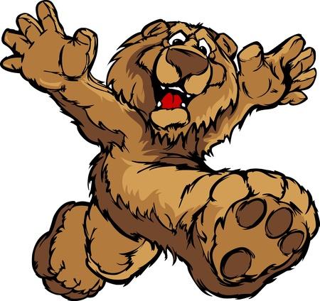 running: Smiling Bear Running with Hands Mascot Illustration