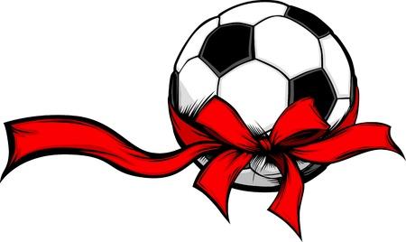 冬の休日の赤いクリスマス リボンで包まれたサッカー ボール