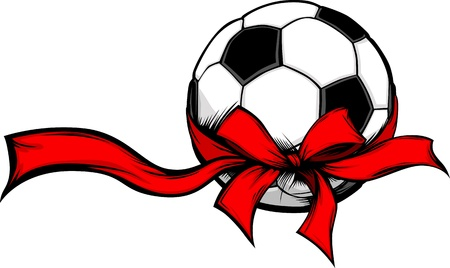 Soccer Ball Wrapped with Red Christmas Ribbon for Winter Holidays Ilustracja