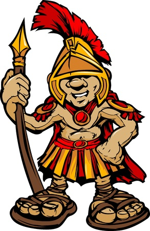 warriors: Cartoon Graphic of a Greek Spartan or Trojan Mascot holding a Spear Illustration