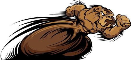 running track: Speeding Bear Running met handen Mascot Illustratie
