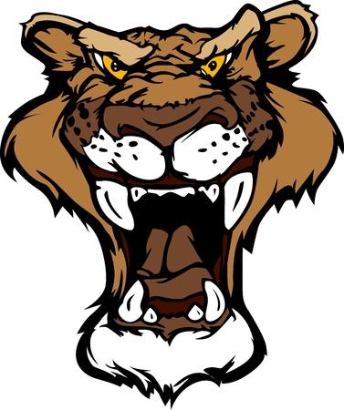 puma: Cartoon immagine Mascotte di testa di un leone di montagna Vettoriali