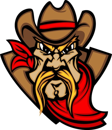 Graphic Mascot Image of a Cowboy Shooting Pistols Vector