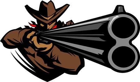 fusil de chasse: Image graphique d'une mascotte Cowboy Tir d'un fusil Illustration