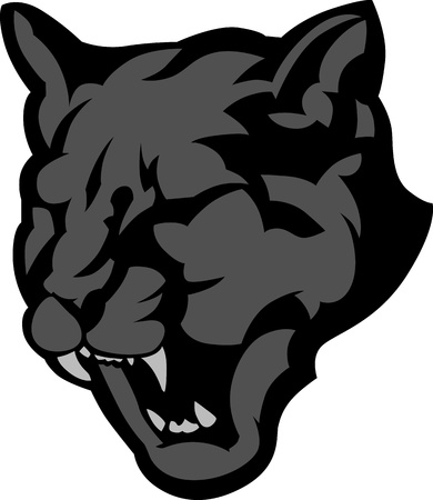 Graphic Mascot Image of a Black Panther Head Vector