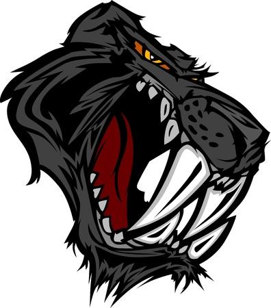 sabel: Grafische Mascot Afbeelding van een Saber Cat Black Panther Hoofd