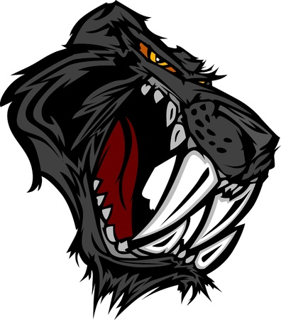 Graphic Mascot Image of a Saber Cat Black Panther Head Stock Vector - 11696918