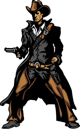 Graphic Mascot Image of a Cowboy Shooting Pistol Vector