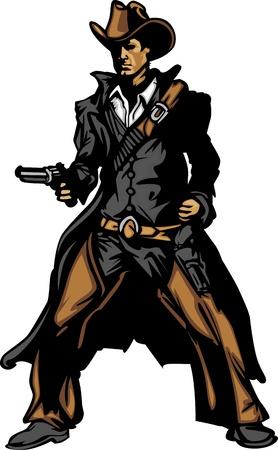 vaquero: Imagen gr�fica de la mascota de una pistola de disparo del vaquero