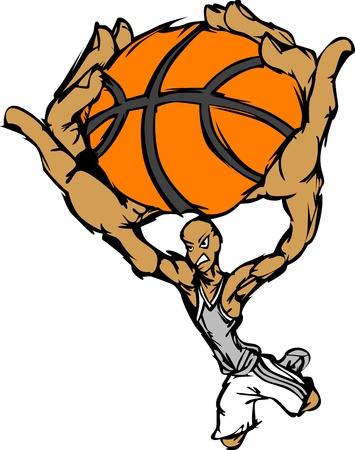 Cartoon Vector Image of a Basketball Player Slam Dunking Basketball Vector