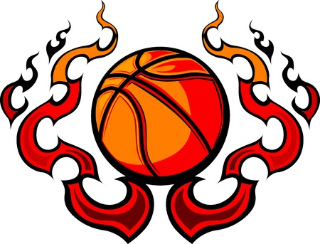 basketball ball on fire: Graphic Basketball image template with flames