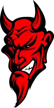 diable rouge: Image graphique d'un chef mascotte D�mon ou Diable Illustration