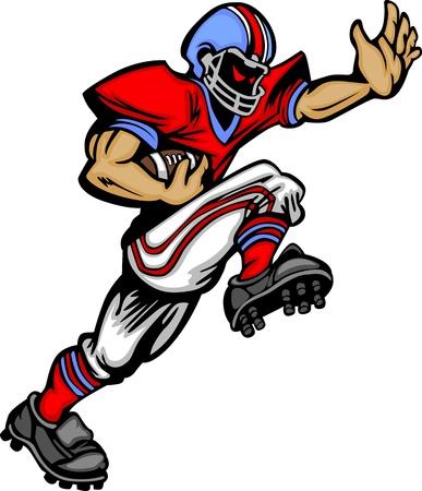 voetbal silhouet: Cartoon Vector Silhouet van een Cartoon Football Player Rushing Stock Illustratie
