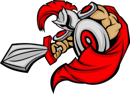 soldado: Troya griega o mascota de soldado romano con un escudo y la espada Vectores