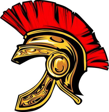 spartano: Grafica di un greco o troiano Spartan Helmet Vettoriali