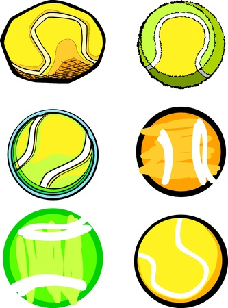 Illustrated Group of Vector Tennis Ball Images  Vector
