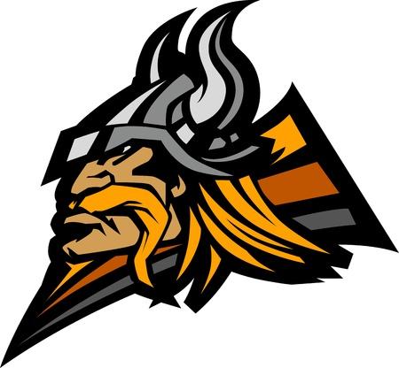 Viking Noorman met Helm Grafische Mascot beeld