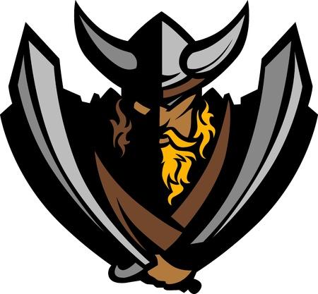 vikingo: Caricatura nórdicos vikingos mascota o bárbaro que llevaba un casco con cuernos