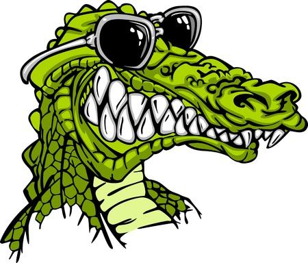 crocodile: Dibujos animados de la imagen de un cocodrilo o caimán con gafas de sol Vectores