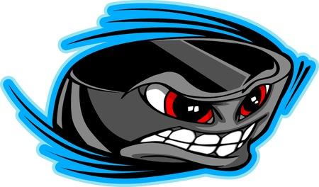 hockey sobre hielo: Ilustraci�n vectorial de un disco de hockey hielo de dibujos animados con una cara