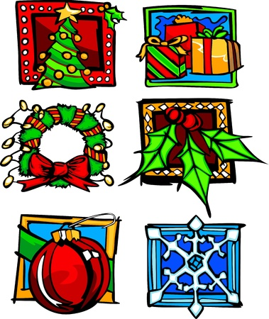 Assortment of Vector Winter Christmas and Holiday Seasonal Image Icons