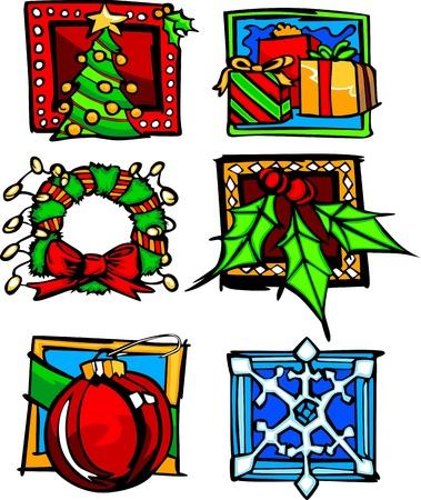 coronas navidenas: Surtido de Navidad y de invierno Vector Iconos de vacaciones de temporada de imagen
