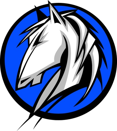 Graphic Mascot Vector Image of a Mustang Bronco Horse   イラスト・ベクター素材