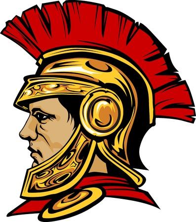 cascos romanos: Gráfico de vector de un espartano griego o troyano con un casco