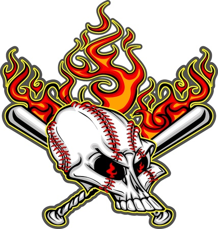 Cartoon Image of Flaming Baseball Bats and Skull with Baseball Laces Vector