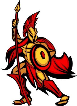 spartano: Spartan greco o Mascot Trojan regge uno scudo e lancia Vettoriali