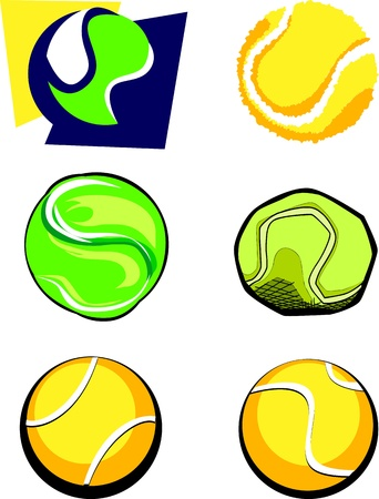 Vector Group of Six Tennis Ball Illustrations