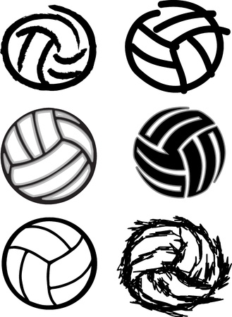Vector Group of Six Volleyball Ball Illustrations